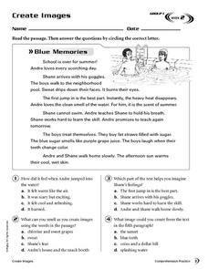 Create Images: Blue Memories Worksheet