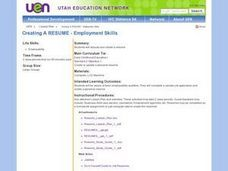 Creating A RESUME - Employment Skills Lesson Plan