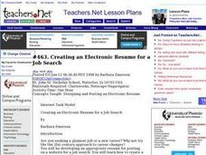 Creating an Electronic Resume for a Job Search Lesson Plan