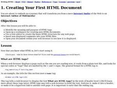 Creating Your First HTML Document Lesson Plan