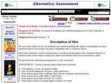 Creative Dance Assessment Lesson Plan
