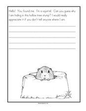 Creative Writing - Why Is a Squirrel Hiding in a Tree Stump? Worksheet