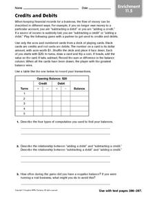 Credits and Debits - Enrichment 11.5 Worksheet