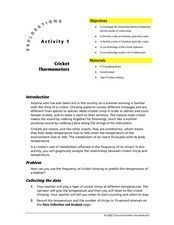 Cricket Thermometers Lesson Plan