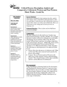 Critical Process: Description, Analysis and                   Comparative Criticism in Western and Non-Western Music Works Lesson Plan