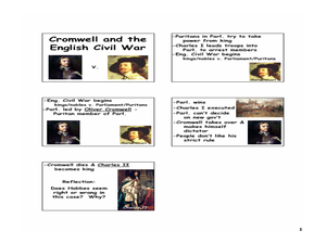 Cromwell and the English Civil War Lesson Plan