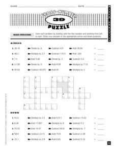 Cross-Number Puzzle: Mixed Operations Worksheet