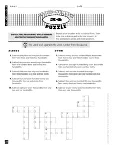 Cross Number Puzzle Worksheet