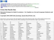 Cross Out Puzzle One: Vocabulary for ESL Learners Worksheet