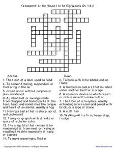 Crossword: Little House in the Big Woods Ch. 1 & 2 5th - 6th Grade ...