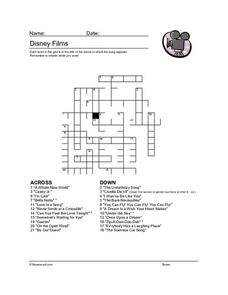 Crossword Puzzle: Disney Worksheet