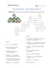 Crossword Puzzle - Verbs in Present Tense 2 Worksheet