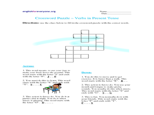 Crossword Puzzle - Verbs in Present Tense Worksheet