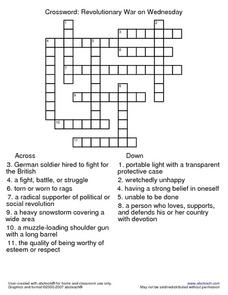 Crossword: Revolutionary War on Wednesday 2nd - 3rd Grade Worksheet ...