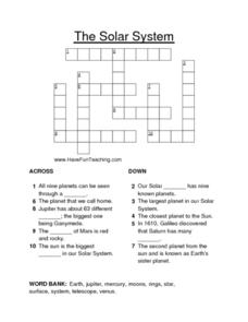 Crossword: Solar System Worksheet