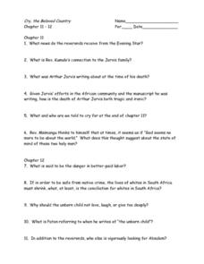 Cry, the Beloved Country Chapters 11 - 12 Worksheet