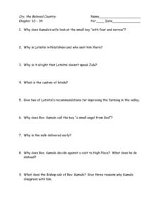 Cry, the Beloved Country Chapters 33-34 Worksheet
