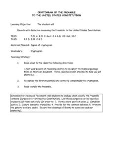 Cryptogram of the Preamble To the United States Constitution Lesson Plan
