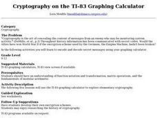 Cryptography on the TI-83 Graphing Calculator Lesson Plan