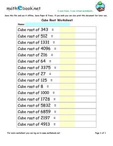 Worksheets Square Roots And Cube Roots Worksheet square root and cube worksheet roots a number sense source