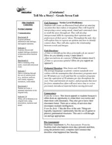 Cuentame! Tell Me A Story, Grade 7 Unit Lesson Plan