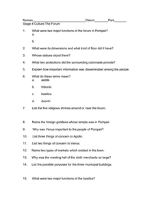 Culture of Pompeii Worksheet