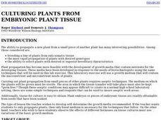 CULTURING PLANTS FROM EMBRYONIC PLANT TISSUE Lesson Plan