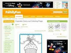Cupcake Carry-out Coloring Page Lesson Plan