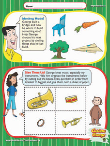 Curious George Math: What Can You Build? Smallest to Biggest. Worksheet