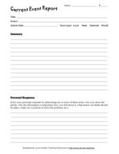 Current Event Report Worksheet