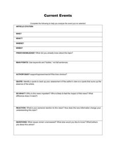Printables Current Events Worksheet current events organizer 5th 12th grade worksheet lesson planet worksheet