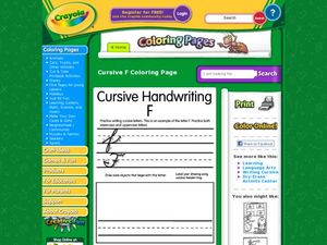 Cursive Handwriting: F Worksheet