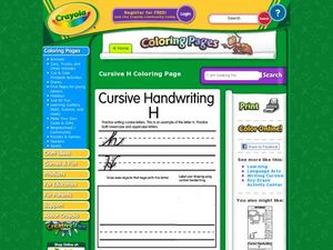 Cursive Handwriting: H Worksheet