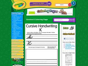 Cursive Handwriting: K Worksheet