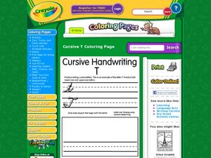 Cursive Handwriting: T Worksheet