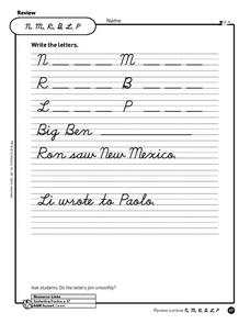 Cursive Review: N, M, R, B. L. P Worksheet