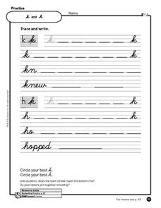 Cursive Writing Practice - k, h, z and x Worksheet