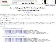 Curve Fitting and the TI-85 Calculator Lesson Plan