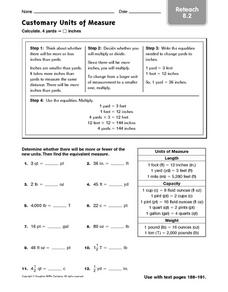 Customary Units of Measure: Reteach 8.2 Worksheet