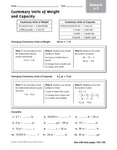 Customary Units of Weight and Capacity: Reteach Worksheet