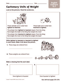 Customary Units of Weight: English Learners Worksheet