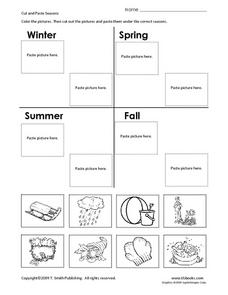 cut and paste seasons 1st 2nd grade worksheet lesson planet. Black Bedroom Furniture Sets. Home Design Ideas