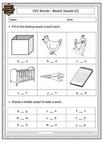 CVC Words - Medial Sounds Worksheet