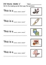 math worksheet : cvc words middle e kindergarten  2nd grade worksheet  lesson pla  : Cvc Worksheets Kindergarten
