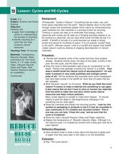 Cycles and Recycles Lesson Plan