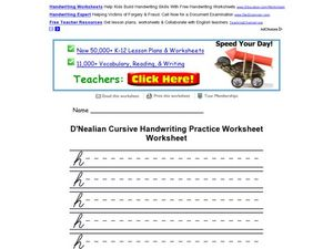 D'Nealian Cursive Practice: The Letter H Worksheet