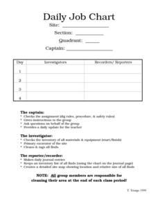 Daily Job Chart Worksheet