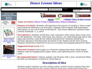 Dance Team/ Collaborative Fitness Routines Lesson Plan