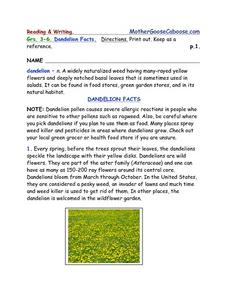 Dandelion Facts- Reading and Writing Worksheet Packet Worksheet