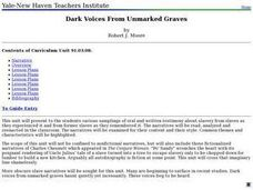 Dark Voices From Unmarked Graves Lesson Plan